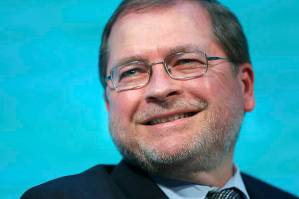 Americans for Tax Reform Founder and President Grover Norquist smiles during an on-stage interview at The Atlantic Economy Summit in Washington March 18, 2014. REUTERS/Jonathan Ernst (UNITED STATES - Tags: POLITICS BUSINESS) - RTR3HLYA
