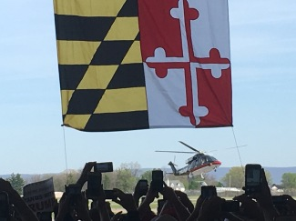 Trump lands in MD
