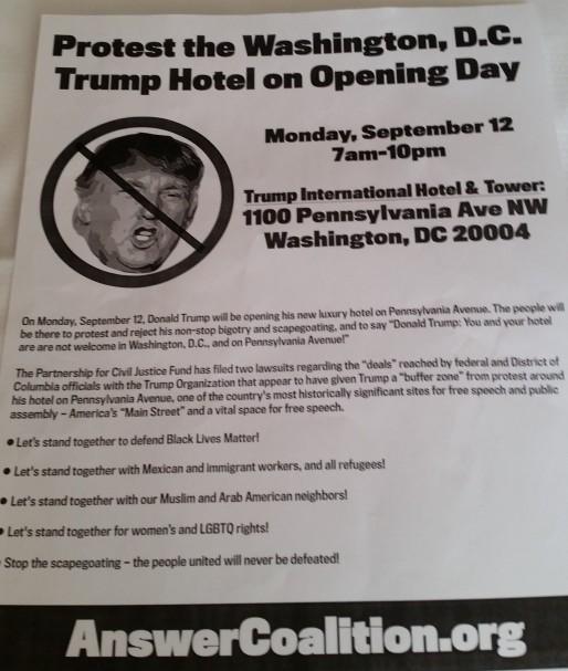 Trump hotel flyer
